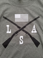 Cross Rifle & Flag LSA Green Short Sleeve