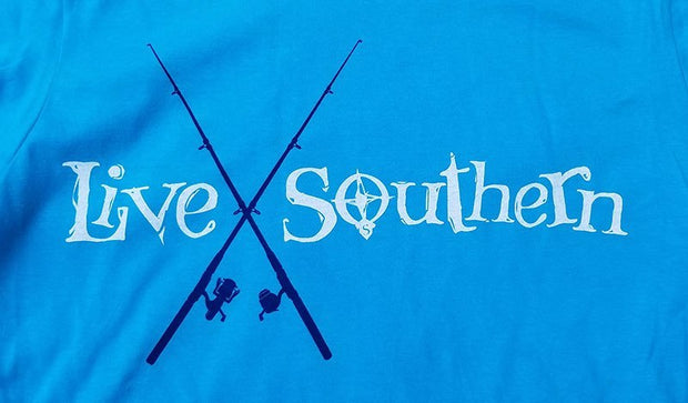Fishing Poles - Caribbean Blue Short Sleeve