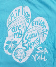 Flip Flop Summer Shoes Blue Short Sleeve
