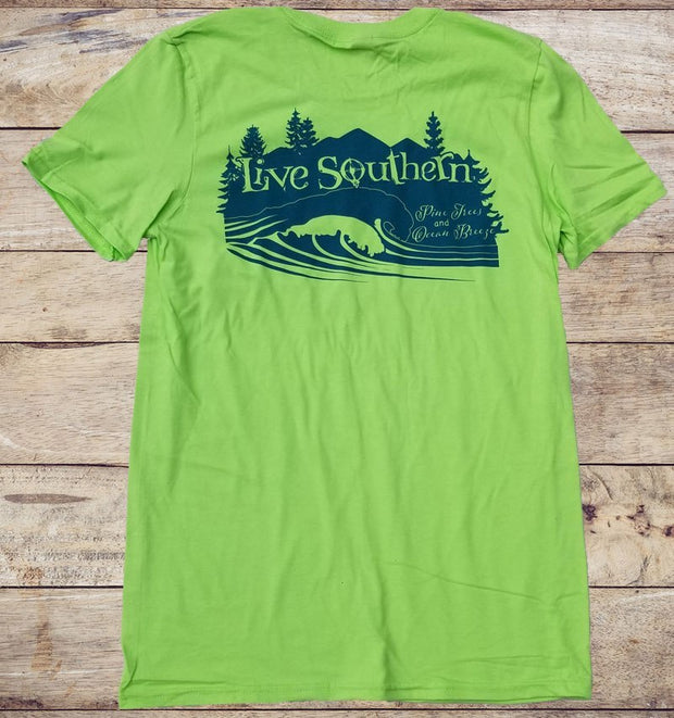 Mountains to the Sea - Key Lime Green Short Sleeve