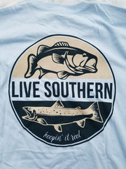 Trout and Bass Fishing Lt Blue Short Sleeve