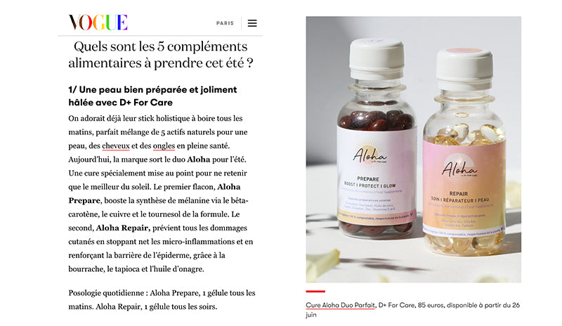 vogue complements alimentaires bronzage aloha