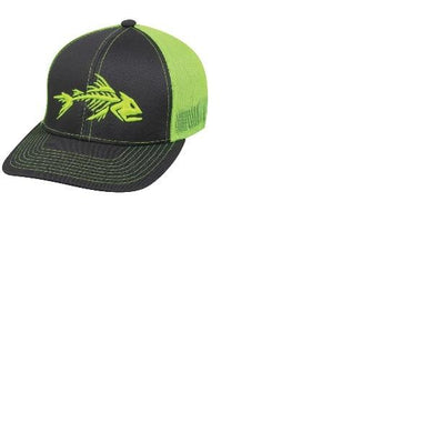 Outdoor Cap Fish Bones Mesh Back Charcoal Neon Yellow