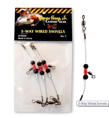 BnM Catfish Gear 3-Way Bumping Swivels 3ct