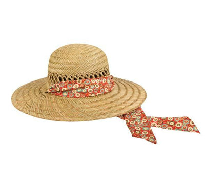 Outdoor Cap Ladies Straw Hat - Natural Red Band