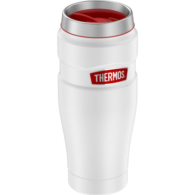 Thermos 16oz Stainless Steel Travel Tumbler - Matte White w-Red Badge - 7 Hours Hot-18 Hours Cold