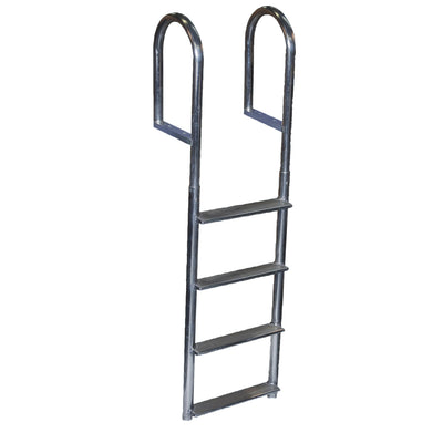 Dock Edge Welded Aluminum Fixed Wide Step Ladder - 4-Step