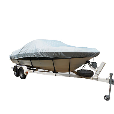 Carver Flex-Fit™ PRO Polyester Size 1 Boat Cover f-V-Hull Fishing Boats & Jon Boats - Grey
