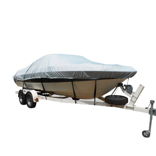 Carver Flex-Fit™ PRO Polyester Size 12 Boat Cover f-V-Hull Center Console Fishing Boats - Grey