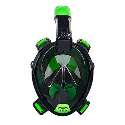 "Aqua Leisure Frontier Full-Face Snorkeling Mask - Adult Sizing - Eye to Chin > 4.5"" - Green-Black"
