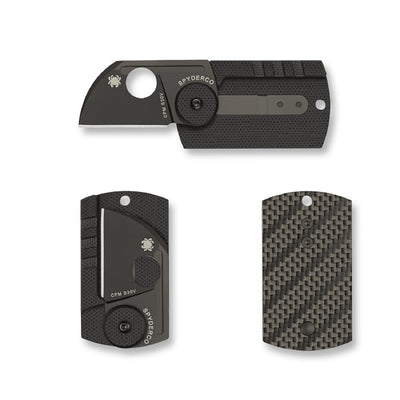 Spyderco Dogtag Folder 1.22 in Black Plain Carbon Fiber-G10
