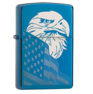 Zippo HP Blue Eagle and Flag Design Lighter