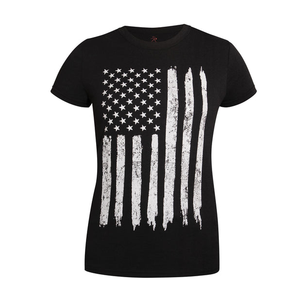 Rothco Womens Distressed US Flag Long T-Shirt