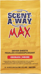 "Hs Dryer Sheets Scent-a-way - Max Oderless 6.5""x9"" 15pk"