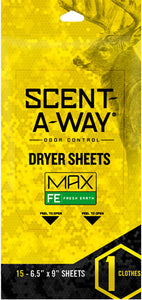 "Hs Dryer Sheets Scent-a-way - Max Oderless 6.5""x9"" Earth 15p"