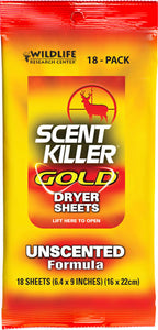 Wrc Dryer Sheets Scent Killer - Gold Unscented 18-pack
