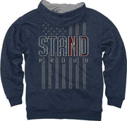 "Buck Wear Hoodie ""stand Proud"" - Flag Vintage Heather Navy Lg"