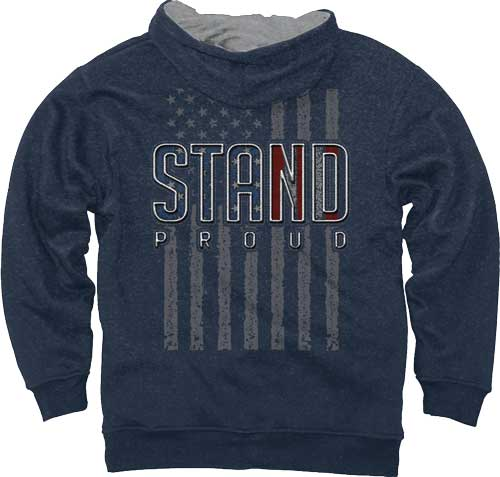 "Buck Wear Hoodie ""stand Proud"" - Flag Vintage Heather Navy Xl"