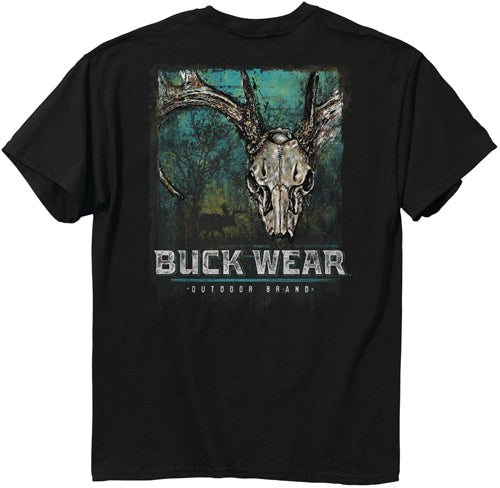 Buck Wear T-shirt Painted - Splatter Deer Skull Blk Large