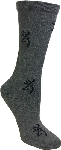 Bg Ladies Heartland Crew Socks - Med Dark Grey & Black