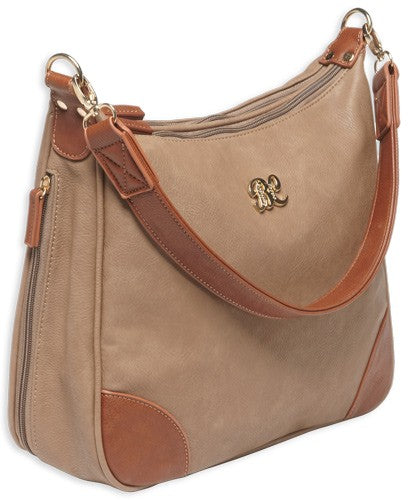 Bulldog Concealed Carry Purse - Hobo Style Taupe W-tan Trim