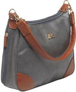 Bulldog Concealed Carry Purse - Hobo Style Gray W-tan Trim