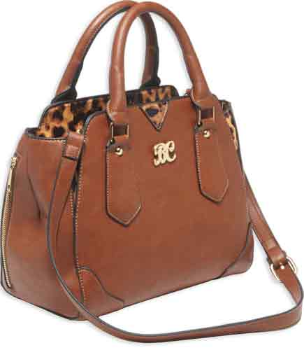 Bulldog Concealed Carry Purse - Satchel Chestnut W- Leopard Tm