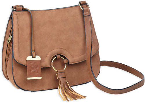 Bulldog Concealed Carry Purse - Cross Body Caramel Suede