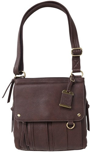 Bulldog Concealed Carry Purse - Med. Cross Body Chocolate Brn