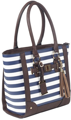 Bulldog Concealed Carry Purse - Tote Style Navy Stripe