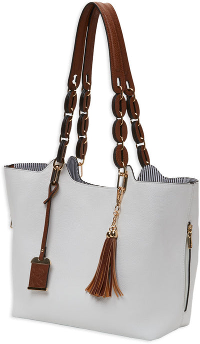 Bulldog Concealed Carry Purse - Braided Tote Style White