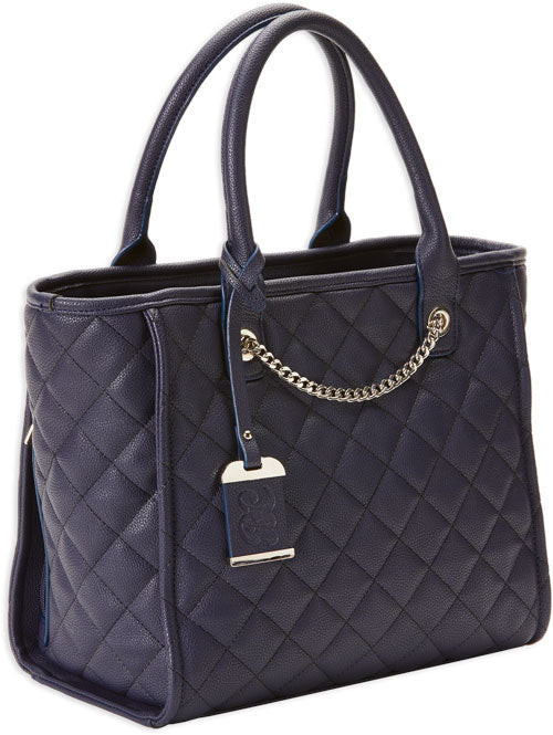 Bulldog Concealed Carry Purse - Quilted Tote Style Navy