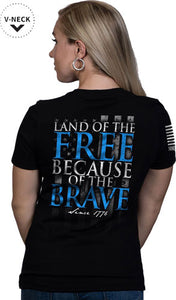 Nine Line Apparel Because Of - The Brave Wmn's T-shirt Bl Xl