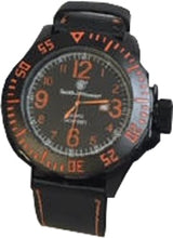 Load image into Gallery viewer, S&w Men's Ego Watch Black And - Orange Leather Wrist Strap
