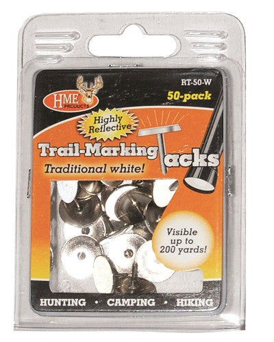 Hme Trail Tacks Reflective - Metal White 50pk