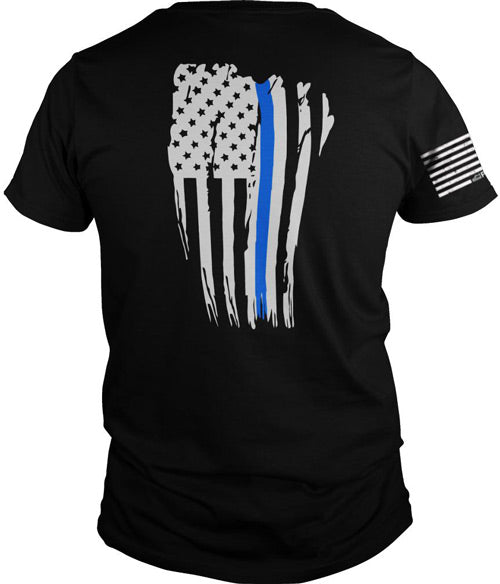 Printed Kicks Thin Blue Line - Bttl Flg Men's Tshirt Blk Sml
