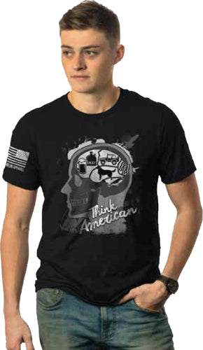 Nine Line Apparel Amer Skull - Men's T-shirt Black Small