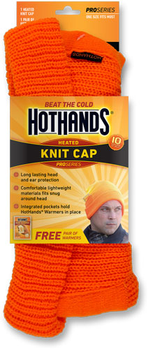 Hothands Heated Knit Cap Blaze - Orange W-free Pair Of Warmers