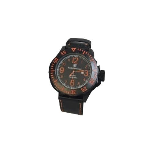 S&w Men's Ego Watch Black And - Orange Leather Wrist Strap