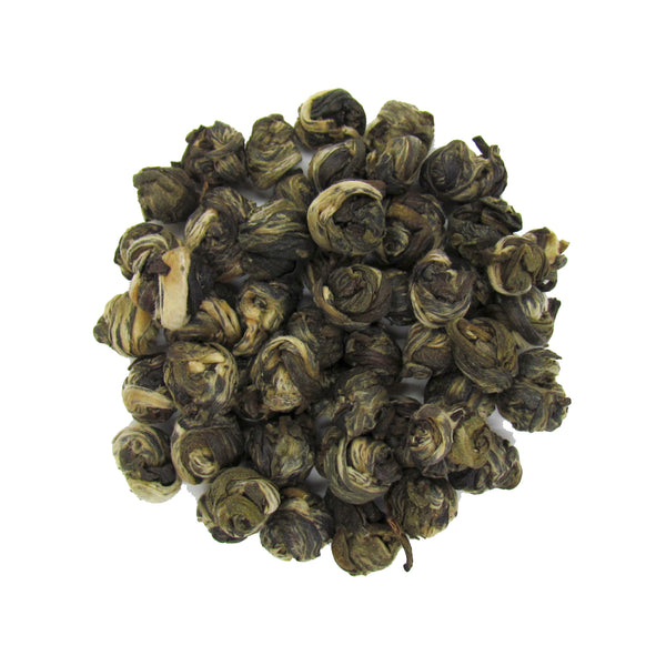 Organic Jasmine Pearl Green Tea | Hand Rolled Tea Pearls Infused with Jasmine Blossoms