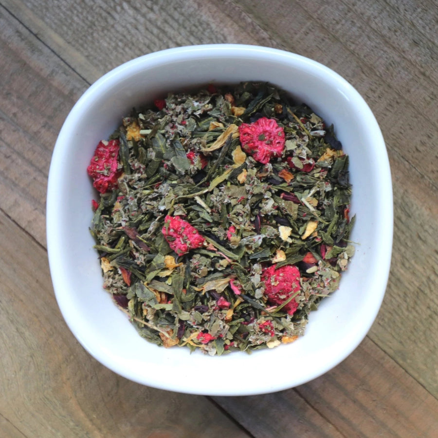 Raspberry Green Tea with Organic Hibiscus, Raspberry Leaf and Raspberries