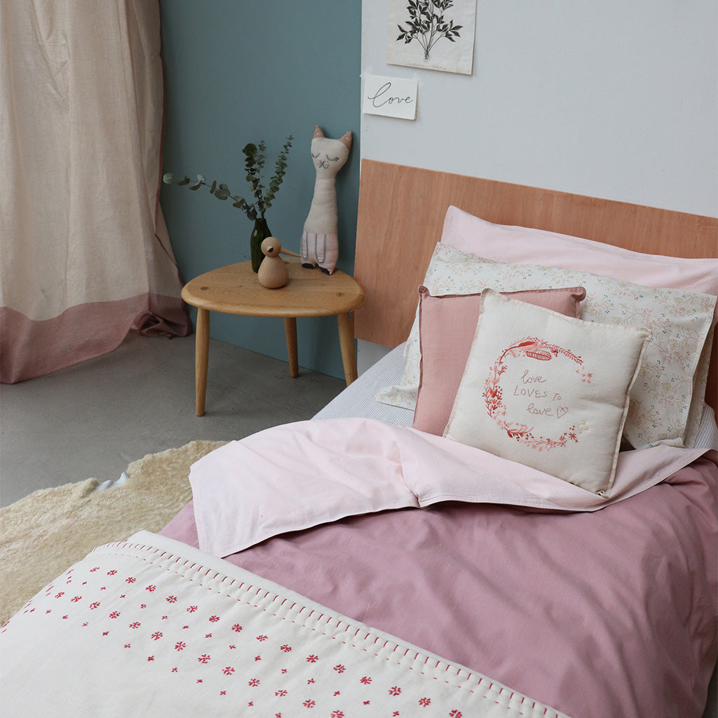 Camomile London Double Quilt Cover - Blush/Pink Reversible