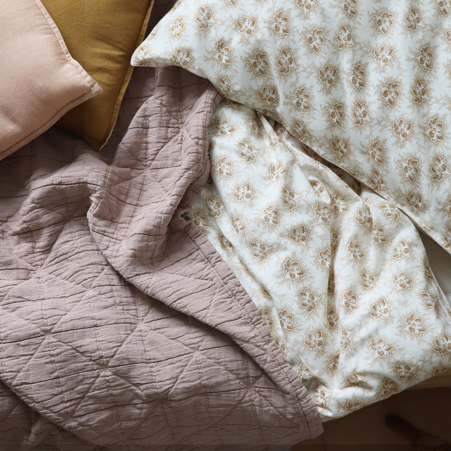 Single Fitted Sheet, Floral Gold | Camomile London - Poeme Lifestyle