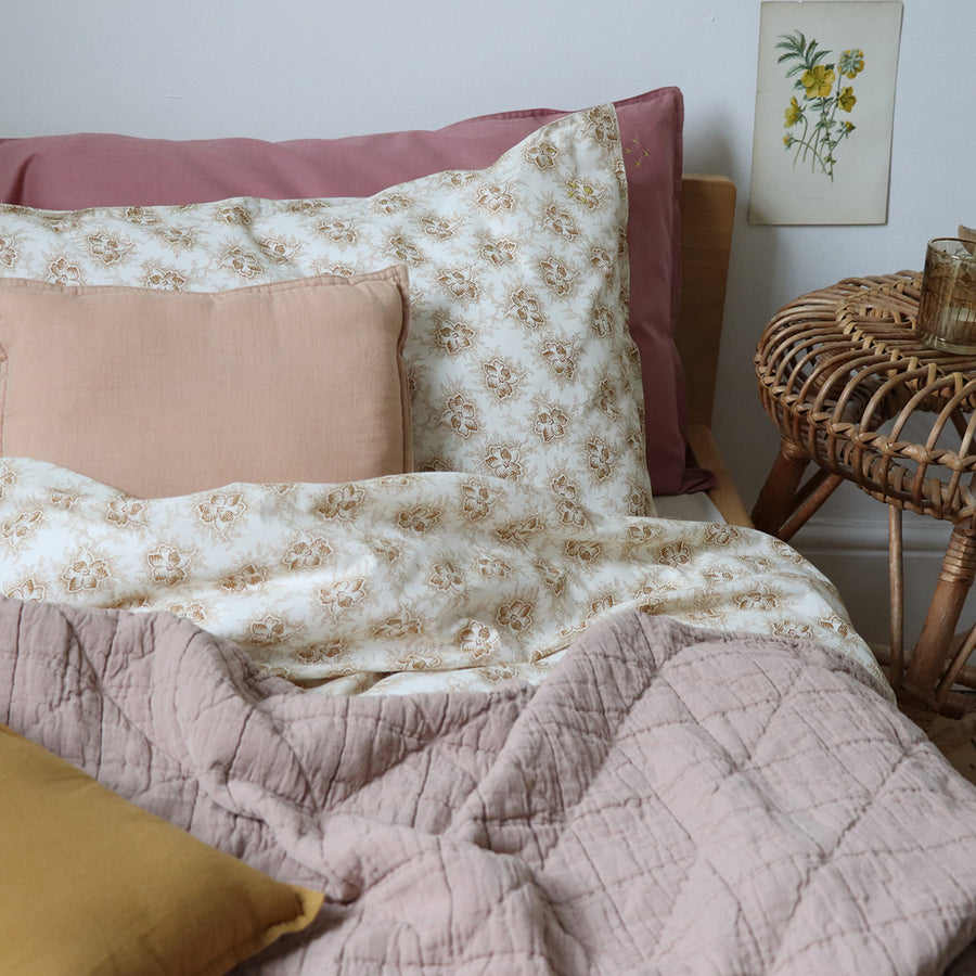 Single Quilt Cover in Floral Gold | Camomile London - Poeme Lifestyle