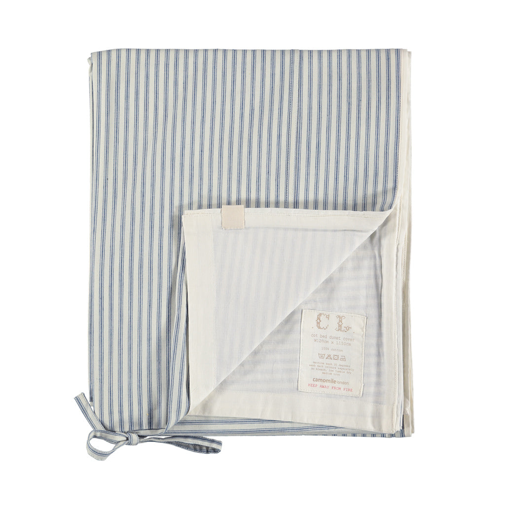 Cot Quilt Cover - Ticking Blue