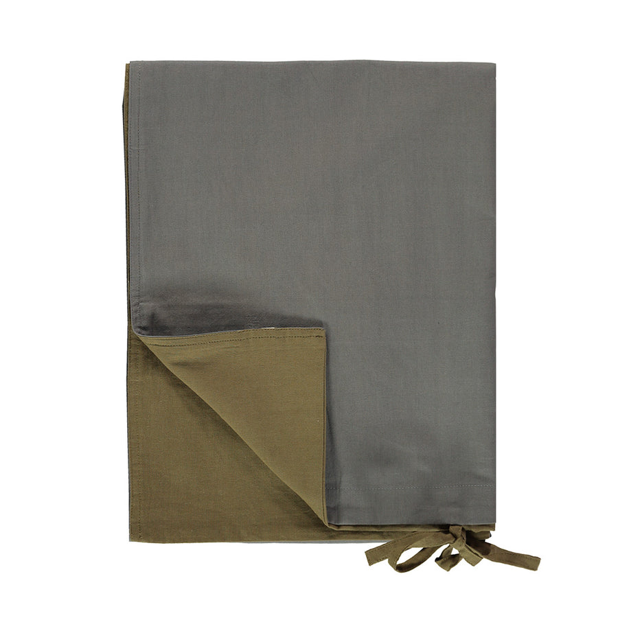 Single Quilt Cover in Olive/Grey | Camomile London - Poeme Lifestyle