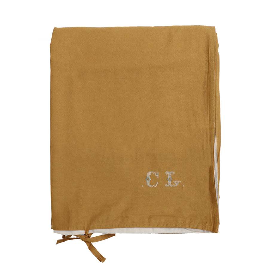 Cot Quilt Cover - Gold/Stone reversible