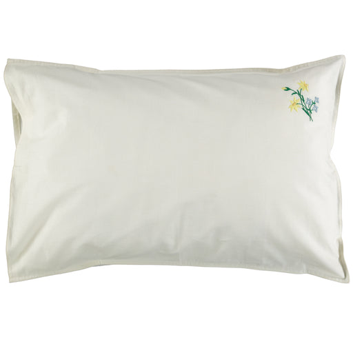 Standard Pillowcase - Embroidered Yellow/Blue Flowers