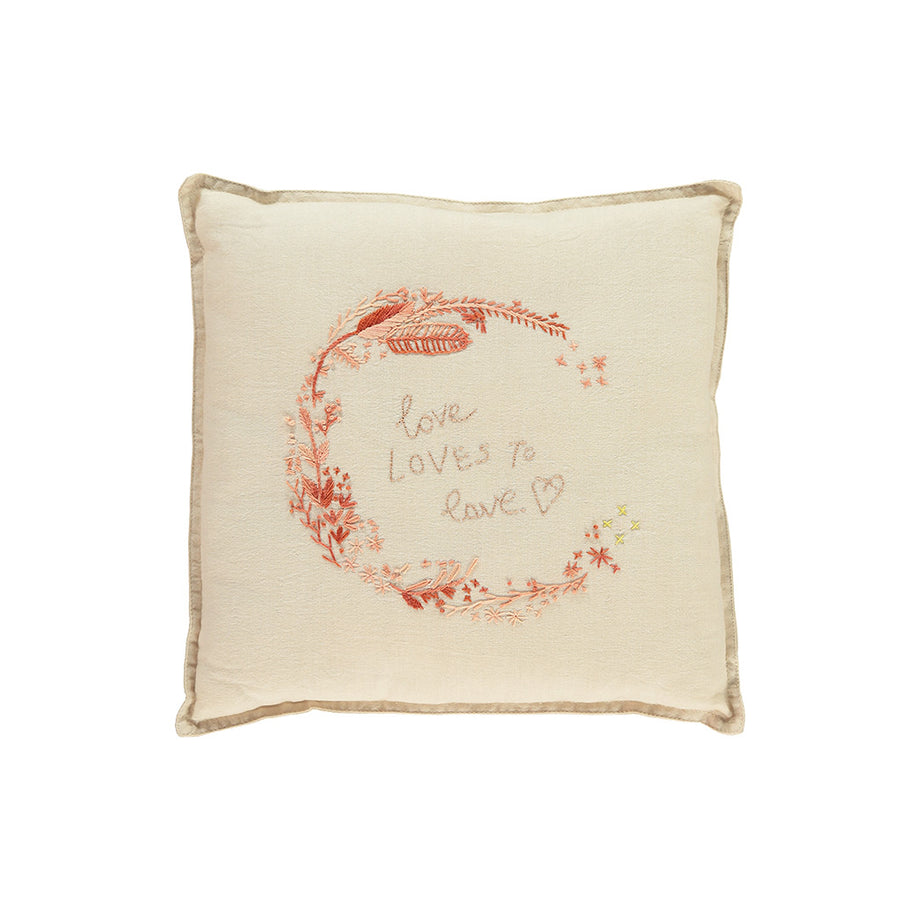 Small Cushion - Embroidered Love & Kisses