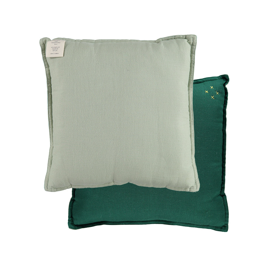 Camomile London Small Cushion - Forest/Mint Reversible